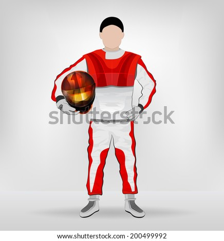 standing racer holding helmet with hand on waist vector illustration - stock vector