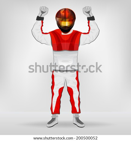 standing racer in helmet with hands in air vector illustration - stock vector