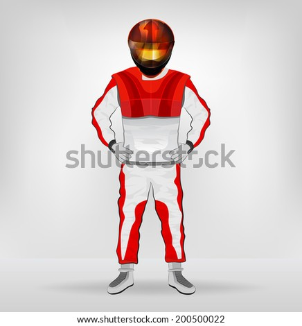 standing racer in helmet with hands on waist vector illustration - stock vector