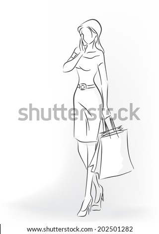 Standing woman with shopping bag in full length. Woman are in dress and court shoes. She talks by her cell phone. Vector monochrome image drawn by lines - stock vector