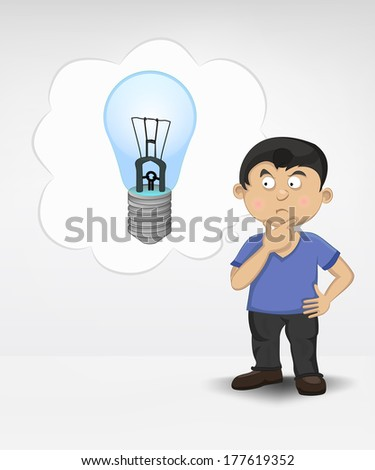 standing young boy thinking about new inventions vector illustration - stock vector