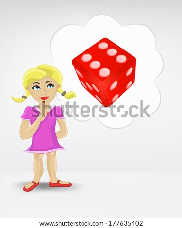 standing young girl thinking about craps vector illustration - stock vector