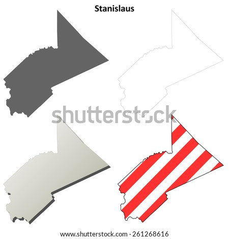 Stanislaus County (California) outline map set - stock vector