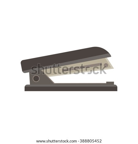 Stapler monochrome flat icon in gray color theme illustration object - stock vector