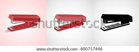 Stapler set: real, flat, solid - stock vector