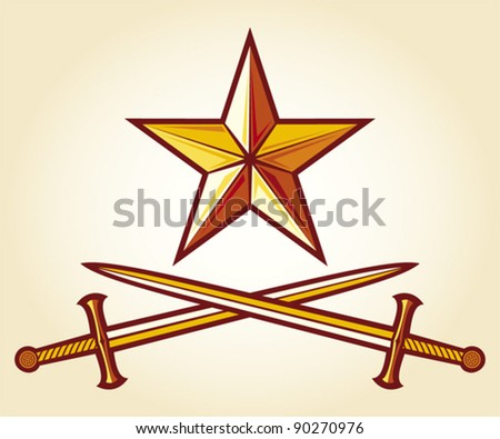 star and crossed swords - stock vector