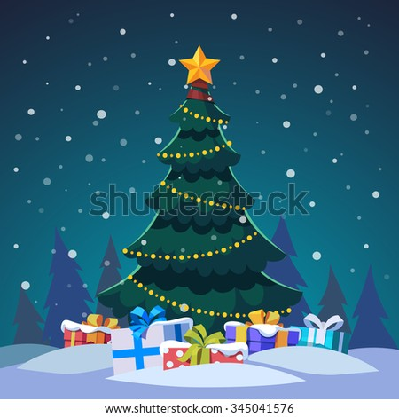 Star and light bulb chain decorated christmas tree with gift boxes standing in the night forest. Flat style isolated vector illustration. - stock vector