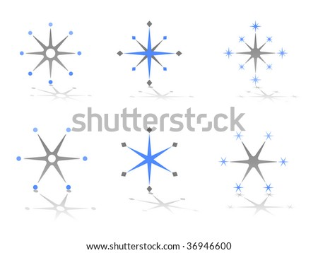 Star and Snowflake Abstract Vector Design Elements - stock vector