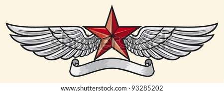 star and wings - stock vector