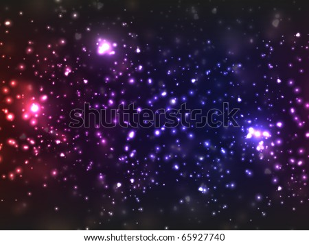 Star background, colored in violet shades with abstract blurry lights. - stock vector