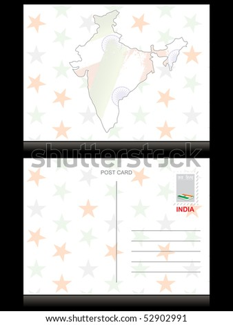 star background with indian map postcard - stock vector