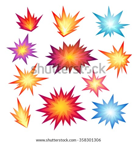 Star bursting boom.Comic book explosion set. Hand drawn vector illustration - stock vector