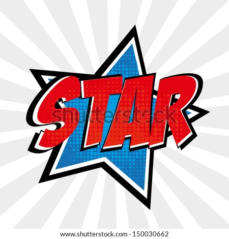 star comic over grunge background vector illustration  - stock vector