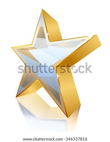 star contour made of gold. vector - stock vector