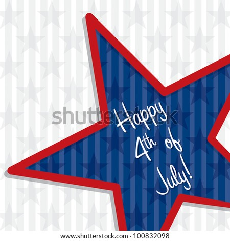 Star cut out Happy 4th of July card in vector format.