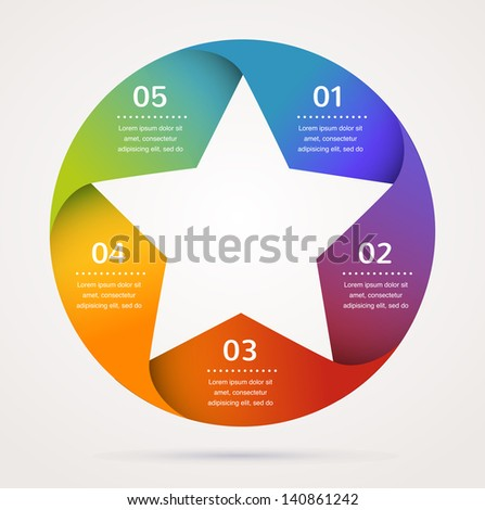 Star design template and infographics, abstract background - stock vector