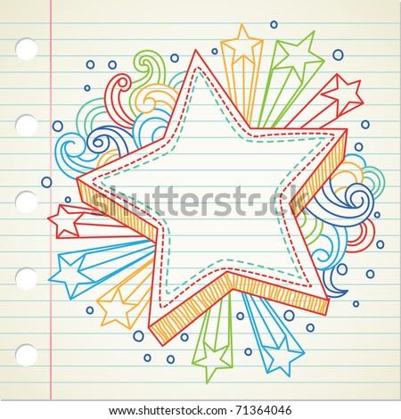 star doodle - stock vector