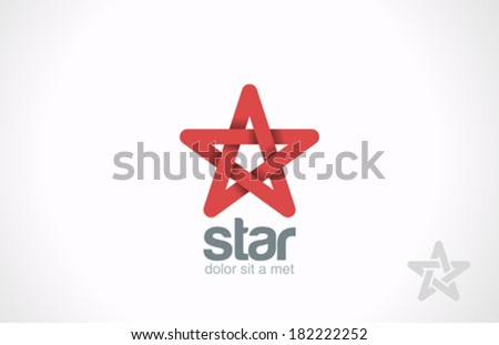 Star five point infinity loop vector logo design template. Looped infinite shape icon symbol. - stock vector