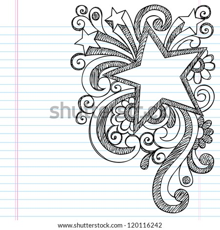 Star Frame Border Back to School Sketchy Notebook Doodles- Vector Illustration Design on Lined Sketchbook Paper Background - stock vector