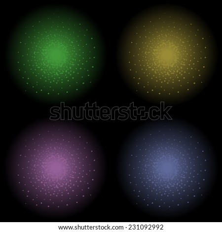 Star glimmer shine vector clip art element. Green, yellow, violet and dark blue. Clip art isolated on black - stock vector