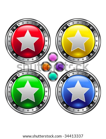 Star icon on round colorful vector buttons suitable for use on websites, in print materials or in advertisements.  Set includes red, yellow, green, and blue versions. - stock vector