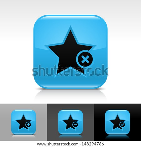 Star icon set. Blue color glossy web button with black sign. Rounded square shape with shadow, reflection on white, gray, black background. Vector illustration design element 8 eps  - stock vector