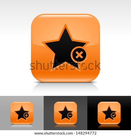 Star icon set. Orange color glossy web button with black sign. Rounded square shape with shadow, reflection on white, gray, black background. Vector illustration design element 8 eps  - stock vector