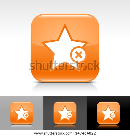 Star icon set. Orange color glossy web button with white sign. Rounded square shape with shadow, reflection on white, gray, black background. Vector illustration design element 8 eps  - stock vector