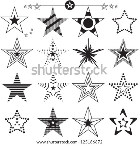 Star icons and logos collection - stock vector