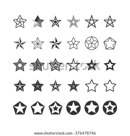 Star Icons Set. Black And White. Vector. - stock vector