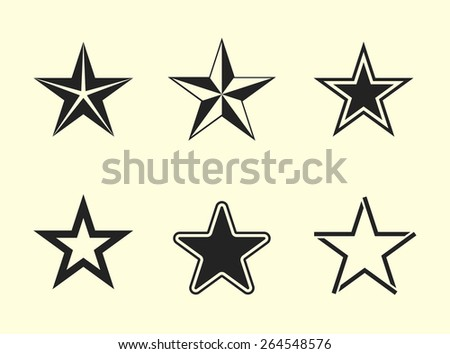 Star icons. Set of flat vector pictograms. - stock vector