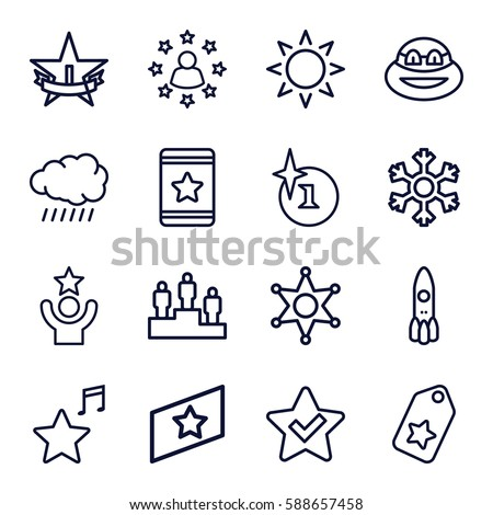 Star icons set set 16 star stock vector 588657458 shutterstock star icons set set of 16 star outline icons such as sun explosion sciox Gallery