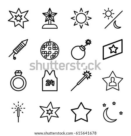 Star icons set set 16 star stock vector 615641678 shutterstock star icons set set of 16 star outline icons such as sun star sciox Images