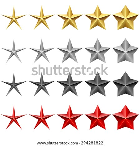 Star icons vector set isolated on white background. - stock vector