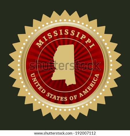 Star label with map of Mississippi, vector - stock vector