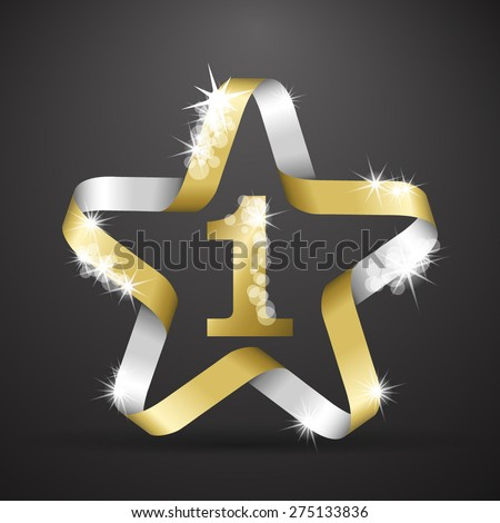 Star made from golden ribbon for first place - stock vector