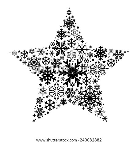 Star made of different shape snow flakes vector - stock vector