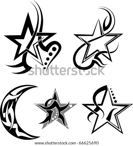 Star, Moon Tribal Tattoo - stock vector