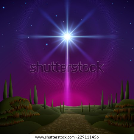 Star of Bethlehem, Christmas greeting card. EPS 10, contains transparency. - stock vector