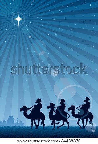Star of Bethlehem: The three Magi follow the Star of Bethlehem. No transparency used. Basic (linear) gradient used for the sky and the lens flare effect. A4 proportions. - stock vector
