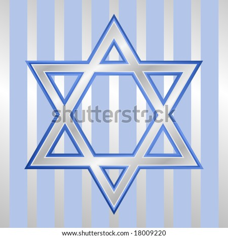 Star of David in silver and blue symbolic of Hanukkah Jewish holiday with stripe background.