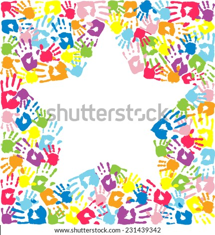 Star of the handprints of father, mother and children - stock vector