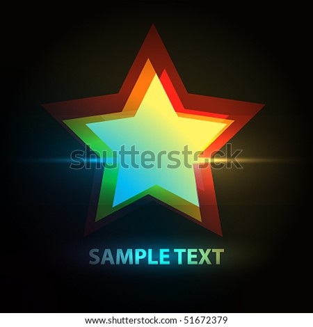 Star on a dark background - stock vector