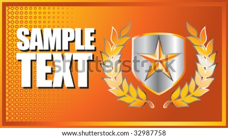 star on shield with leaves on orange halftone banner