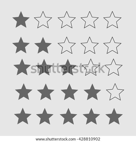Star rating. Black and white hotel evaluation. Stars vector icon. - stock vector