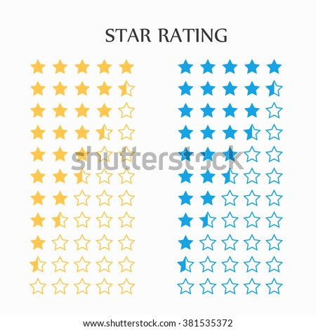 Star rating in yellow and blue, vector - stock vector