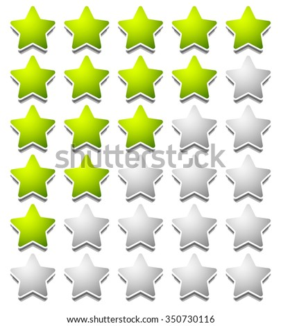 Star rating template from initial zero to 5 stars. - stock vector
