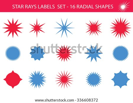 Star rays - Set of Retro Sun burst shapes. Vector stars and sparkle silhouettes festive design elements. Vintage sun ray frames, quality signs, circle backgrounds for design project. Blue and red. - stock vector