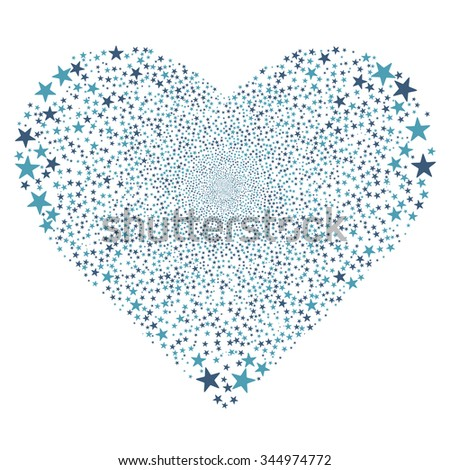 Star Salute Heart vector illustration. Style is cyan and blue bicolor flat stars, white background.