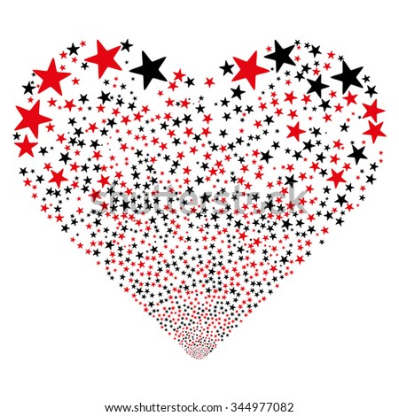 Star Salute Heart vector illustration. Style is intensive red and black bicolor flat stars, white background. - stock vector